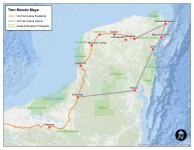 Ruta propuesta para el Tren Maya.
